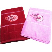 VELVET COTTON BATH TOWEL WITH EMBROIDERY BORDER / SET OF 2 PIECES
