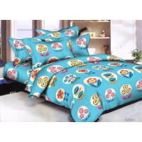 POLYCOTTON SELF FLORAL DESIGN BEDSHEET WITH 2 PILLOW COVERS FOR DOUBLE BED PACK OF 1