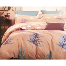 Light Color Pure Cotton Single Bedsheet Set / Leafy Designer Soft Cotton Bed Cover with pillow cover