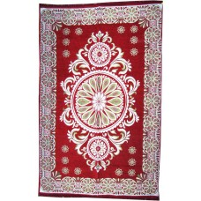 Red Ethnic Velvet Touch Abstract Chenille Carpet /Galicha