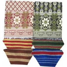 ETHNIC BLOCK DESIGN CHADDAR 2 PCS AND DARK COTTON NAPKINS SET OF 4  (PACK OF 6 )