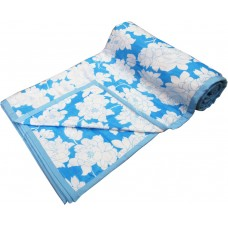 BLUE WHITE FLORAL DESIGN SINGLE DOHAR AC BLANKET 1 PIECE SET