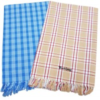 JUMBO PURE COTTON BATH TOWELS IN CLASSIC CHECKS PATTERN  - PACK OF 2