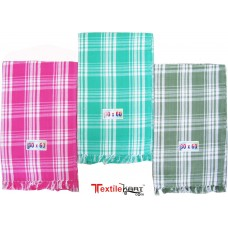 BRIGHT COLOR CHECKS COTTON TOWELS PACK OF 3 / LIGHT WEIGHT TRAVELLING TOWELS