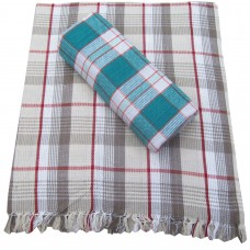 PURE COTTON CHECKS BATH TOWELS IN LARGE SIZE PACK OF 2