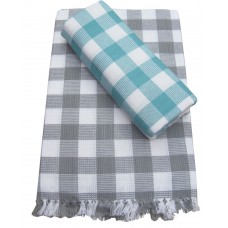 BIG BLOCK CHECKS DESIGN PURE COTTON BATH TOWELS PACK OF 2