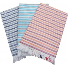 COLORFUL STRIPES PURE COTTON BATH TOWELS SET OF 3