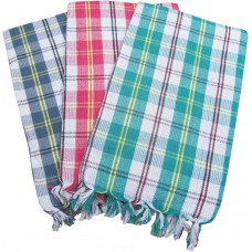 FAST DRY MULTI CHECKS PURE COTTON BATH TOWELS PACK OF 3
