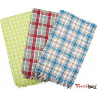 SUPERIOR SOFT COTTON BATH TOWELS IN CHECKS - SET OF 3