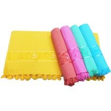Cotton Checks Towel  with Velvet Floral Border Set of 2 pcs