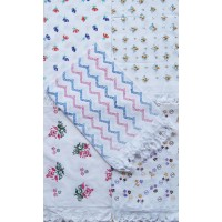 Floral Cotton Printed Towel Set /  Flower Design Printed Towel in White - Pack of 2