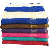 LARGE SIZE COTTON STRIPED BATH TOWELS PACK OF 2