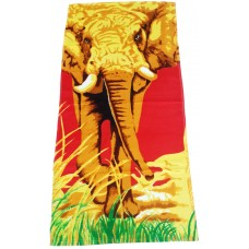 Elephant Printed Cotton Beach Bath Towels For Boys/Girls - Pack Of 1