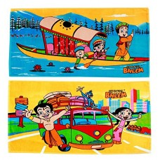 CHOOTA BHEEM PACK OF 2 CARTOON TOWELS FOR KIDS IN PURE COTTON