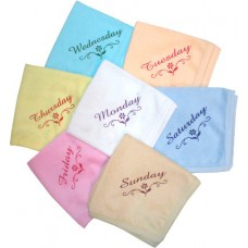 Hosiery Cotton Hand Napkins set / Kids Napkins Set of 7 pieces Sunday Monday napkins/Set of 2 packs
