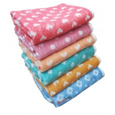 COTTON SUPER ABSORBENT HAND TOWEL / NAPKINS SET IN BRIGHT COLORS   - PACK OF 6