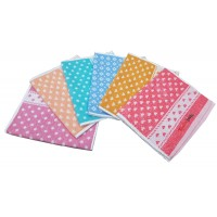 HEART PRINTED THICK COTTON HAND TOWEL / NAPKINS  - SET OF 6 PIECES
