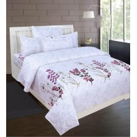 Pigment Print Soft PureCotton Florida Design Bedsheet With 2 Pillow Covers Set For Double Bed