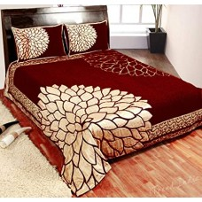REVERSIBLE RED AND GOLDEN COLOR FLORAL PREMIUM CHENILLE KING SIZE BED SHEET - PACK OF 1