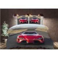 STYLISH CAR PRINTED EXTRA DOUBLE SIZE BED SHEET WITH 2 PILLOW COVERS