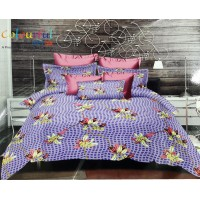 PURPLE  FLORAL 3D PRINTED DOUBLE BEDSHEET WITH 2 PILLOW COVERS FINEST QUALITY -  PACK OF 1