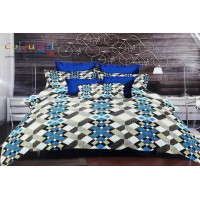 BLUE SUPERIOR FLORAL 3D PRINTED DOUBLE BEDSHEET WITH 2 PILLOW COVERS FINEST QUALITY -  PACK OF 1