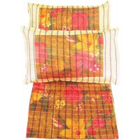 DOUBLE BEDSHEET FLORAL DESIGNER SET IN SILK WITH TWO PILLOW COVERS