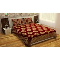 RED COLOR PREMIUM CHENILLE KING SIZE REVERSIBLE BED SHEET - PACK OF 1