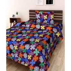 Designer Polycotton Printed Bed Sheet With 2 Pillow Covers For Double