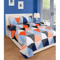 POLYCOTTON DOUBLE BED GEOMETRIC DESIGN SOFT BED SHEET WITH 2 PILLOW COVERS SET
