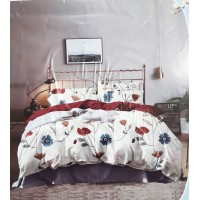 FLORAL PRINTED DOUBLE BED IN WHITE PURE COTTON BEDSHEET WITH 2 PILLOW COVERS