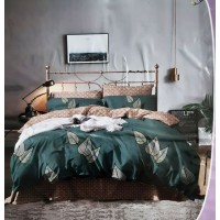 LEAFY PRINTED DOUBLE BED PURE COTTON BEDSHEET WITH 2 PILLOW COVERS