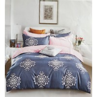 PURE COTTON GEOMETRIC PRINTED DOUBLE BED BEDSHEET WITH 2 PILLOW COVERS IN GREY COLOR