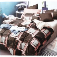 BROWN COLORED GEOMETRIC DESIGN DOUBLE BED PURE COTTON BEDSHEET WITH 2 PILLOW COVERS
