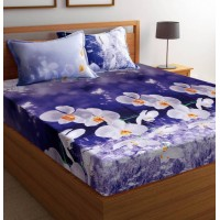 WHITE FLOWER DESIGN POLYCOTTON SOFT DOUBLE BED SHEET WITH 2 PILLOW COVERS SET