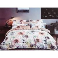 WHITE FLORAL PRINTED NIGHT GLOW DOUBLE BED PURE COTTON BEDSHEET WITH 2 PILLOW COVERS