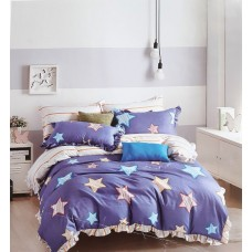 ABSTRACT STAR DESIGN DOUBLE BED PURE COTTON BEDSHEET WITH 2 PILLOW COVERS