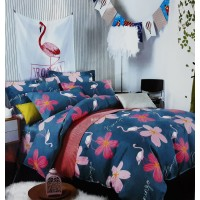 Dark Blue With Floral Printed Designer Double Bedspread With 2 Pillow Covers Set