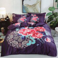 King Size Soft Cotton Purple Color With Floral Designer Bedsheet With 2 Pillow Covers