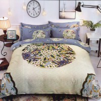 Abstract Design King Size Soft Cotton Bedsheet With 2 Pillow Covers Set