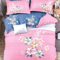Super King Size Multicolour Floral Pink Bedsheet With 2 Pillow Covers Set For Double Bed