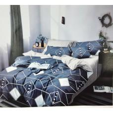 Abstract Triangle Pattern King Size Pure Cotton Bedsheet With 2 Pillow Covers in Grey Colour