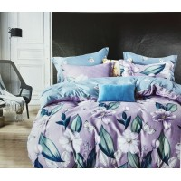 Light Purple Floral Printed Pure Cotton Bedsheet With 2 Pillow Covers For Double Bed