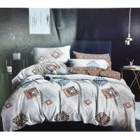 Double Bedsheet in Abstract Pattern with 2 Pillow Covers In Pure Cotton