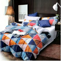 Multi Triangle Abstract Printed Bedsheet With 2 Pillow Covers For Double Bed