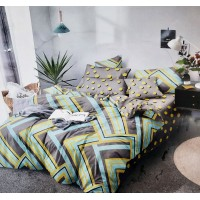 Modern Glace Cotton Abtract Prints Bedsheet With 2 Pillow Covers Set For Double Bed