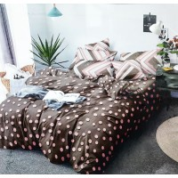 Peach polka Dots Printed Bedsheet With 2 Pillow Covers Set For Double Bed