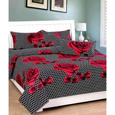 Beautiful Rose 3D Printed Bedsheet With Pillow Covers For Double Bed In Black Colour