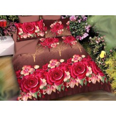 3D Printed multi Colour Double Bedsheet With Pillow Covers For Double Bed In Floral Design