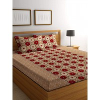 Floral 3D Printed Polycotton Bedsheet With Pillow Covers For Double Bed Set